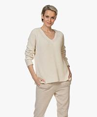 Repeat V-neck Cotton Rib Sweater - Light Beige