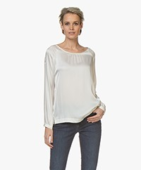 no man's land Stretch-silk Long Sleeve - Ivory