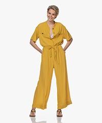 Pomandère Crepe Short Sleeve Jumpsuit - Mustard Yellow