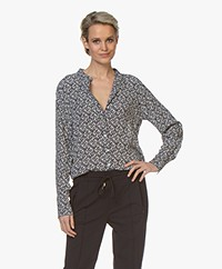 Josephine & Co Bernadet Floral Printed Crepe Blouse - Navy