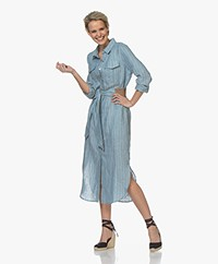 Josephine & Co Bem Linen Pinstripe Shirt Dress - Sky Blue