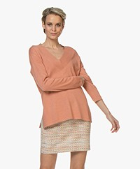 Repeat Fine Knitted V-neck Sweater - Blush