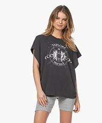 IRO Explore Katoenen Print T-shirt - Used Black