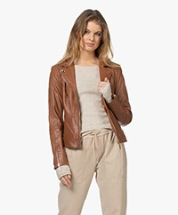 Repeat Luxury Leather Biker Jacket - Hazel