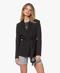 IRO Better Wool Twill Blazer with Belt - Black