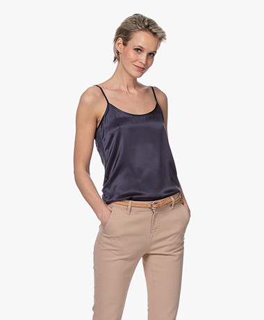 Majestic Filatures Spaghetti Strap Top with Silk Front - Marine