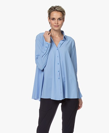 JapanTKY Milly Travel Jersey A-line Blouse - Light Blue