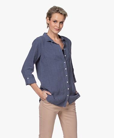 Belluna Biba Garment-dyed Linen Blouse - Petrol