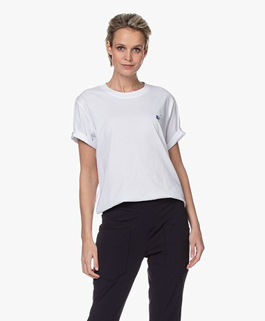 Closed Oversized T-shirt met Borduursel - Wit
