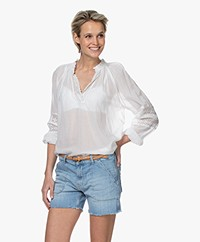 ba&sh Stella Voile Blouse with Lace - White