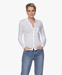 Belluna Santigo Linen Jersey Blouse - White