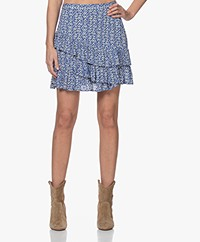 indi & cold Mini Tiered Skirt with Print - Cobalt