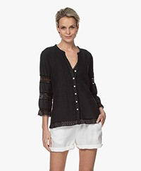 Belluna Sandy Linen Blouse with Lace - Black