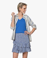by-bar Norel Gestreepte Katoenmix Blouse - Powder Blue