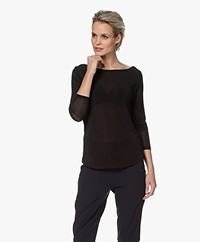 no man's land Crepe Jersey Boatneck Long Sleeve - Core Black