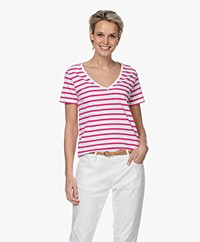 Majestic Filatures Striped Cotton V-neck T-shirt - Rose Indien/White