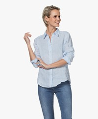 no man's land Puur Linnen Blouse - Pale Blue