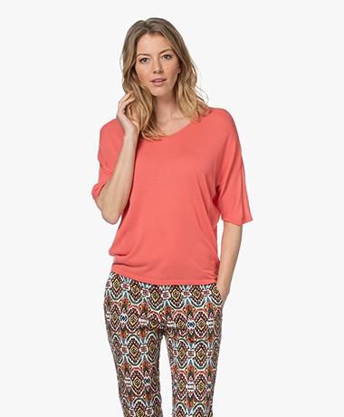 Sibin/Linnebjerg Cora Gebreid Viscose T-shirt - Peach