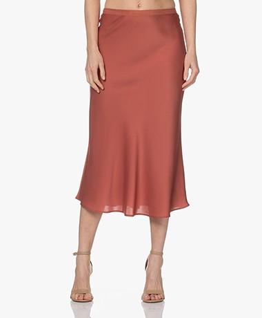 Repeat Silk Bias-cut Midi Skirt - Cinnamon