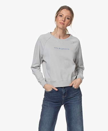 by-bar Eve Bio Katoenen Print Sweatshirt - Illu Grey