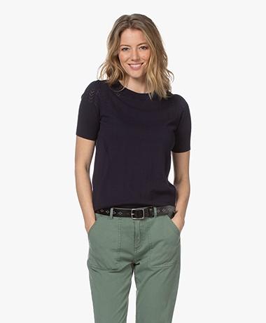 Plein Publique La Femme Pointelle Short Sleeve Pullover - Dark Blue