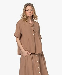by-bar Nanci Cotton Muslin Blouse - Coffee