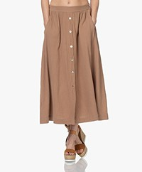 by-bar Nine Muslin Midi Skirt - Coffee