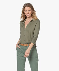 Majestic Filatures Soft Touch Jersey Blouse - Khaki