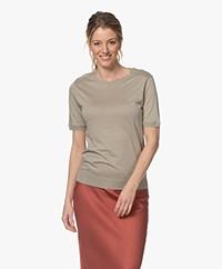 Repeat Lyocell Blend Short Sleeve Sweater - Pepper