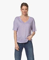 Drykorn Svennie Linen V-neck T-shirt - Lilac