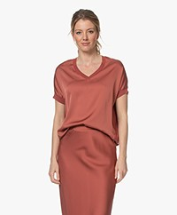 Repeat Fine Knit Sweater with Silk Front - Cinnamon