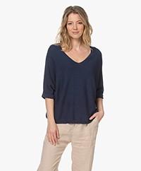 indi & cold Cotton Short Sleeve Sweater - Marino