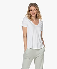 Majestic Filatures Viscose Soft Touch V-neck T-shirt - White