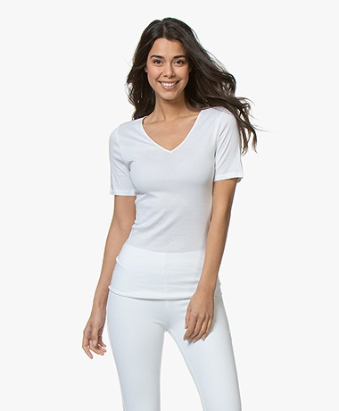 HANRO Cotton Seamless V-neck T-shirt - White