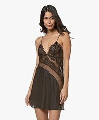 Calvin Klein CK Black Silk Chemise with Lace - Black