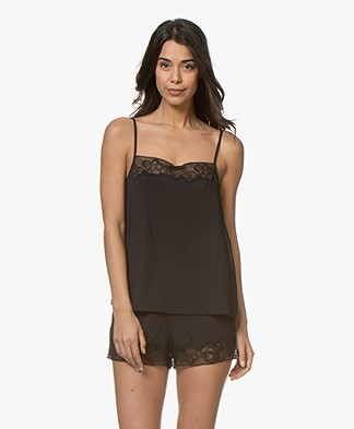 Calvin Klein CK Black Jersey Camisole with Silk - Black