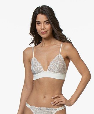 Calvin Klein Ck Black Unlined Triangle Lace Bra - Ivory