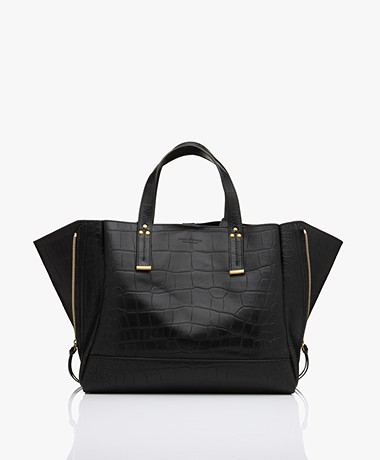 Jerome Dreyfuss Georges M Lamb Leather Tote Bag - Croco Black/Vintage Gold
