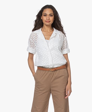 Resort Finest Celia Broderie Anglaise Blouse - Wit