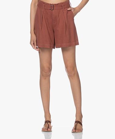 indi & cold Viscose-Linen Paperbag Shorts - Terracotta