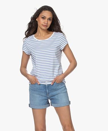 no man's land Striped Viscose Blend T-Shirt - Cornflower