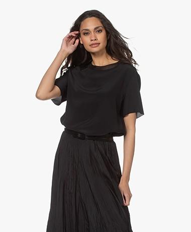 Joseph Rubin Silk Crepe Short Sleeve Blouse - Black