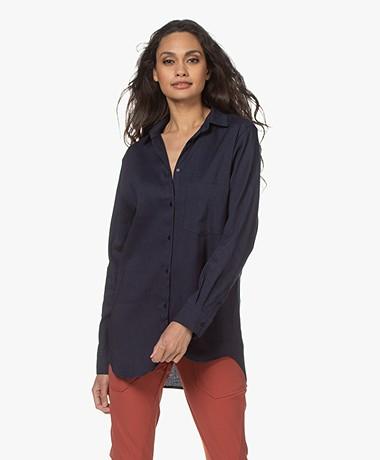 Woman by Earn Froukje Linen Blend Shirt - Navy
