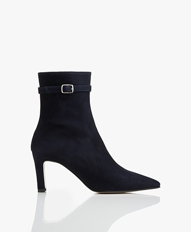 Panara Suede Leather Ankle Boots - Dark Blue