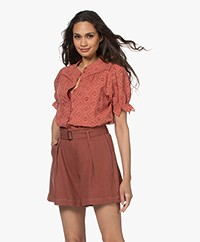 ba&sh Birkin Embroidered Short Sleeve Blouse - Peche
