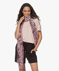 Repeat Modal en Zijden Print Sjaal - Gloss