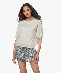 by-bar Neva Organic Cotton Short Sleeve Sweatshirt - Grey Melange