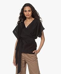 Filippa K Dora Lyocell Mix Kimono Blouse - Zwart