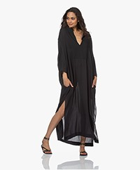 Su Paris Hava Viscose-Silk Crepe Kaftan - Black
