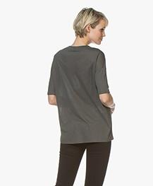 Closed Lyocell V-neck T-shirt - Caper Green